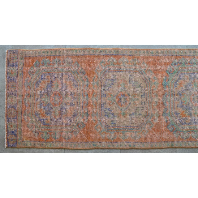 """1970s Faded Colors Runner Low Pile Distressed Oushak Rug Runner - 2'11"""" X 11'10"""" For Sale - Image 5 of 9"""