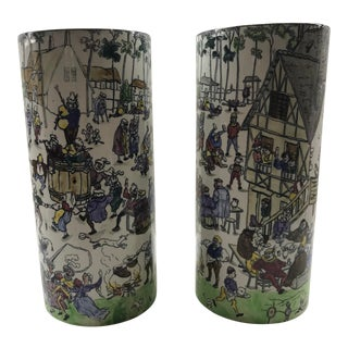 1880s Antique French Longwy Pottery Vases - a Pair For Sale