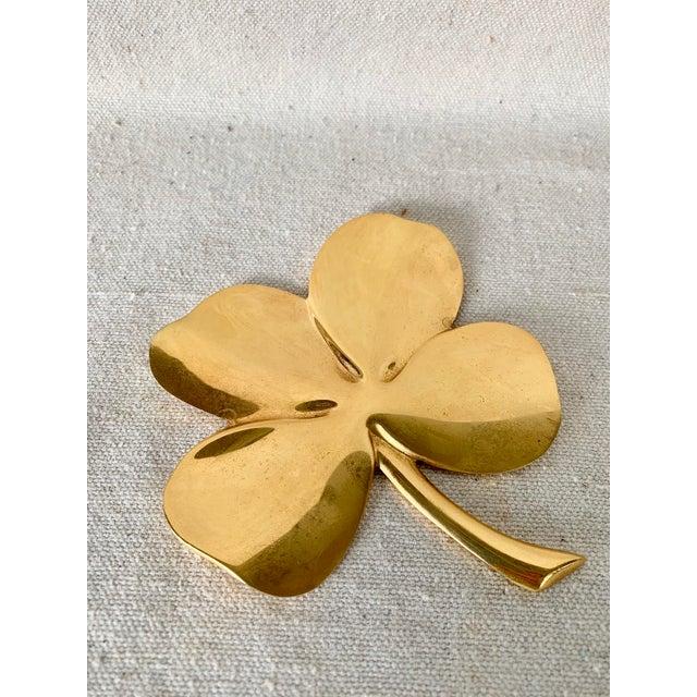 Gold Vintage Gold Four Leaf Clover For Sale - Image 8 of 10