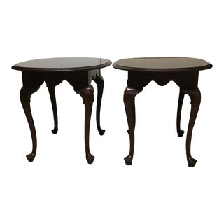 Ethan Allen Georgian Court Cherry Queen Anne Style Side Tables - a Pair For Sale
