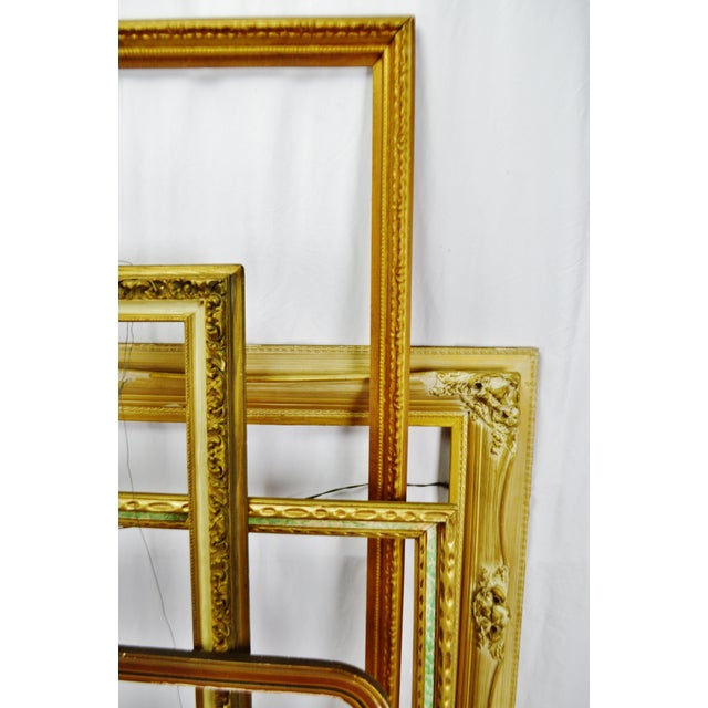 Wood Vintage Large Wood Picture Frames - Group of 5 For Sale - Image 7 of 13