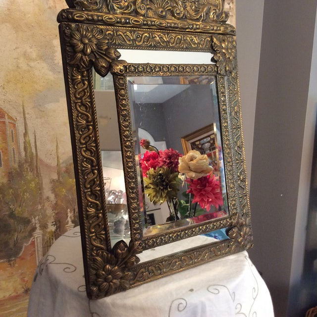Gold Antique Flemish Repousse Mirror For Sale - Image 8 of 10