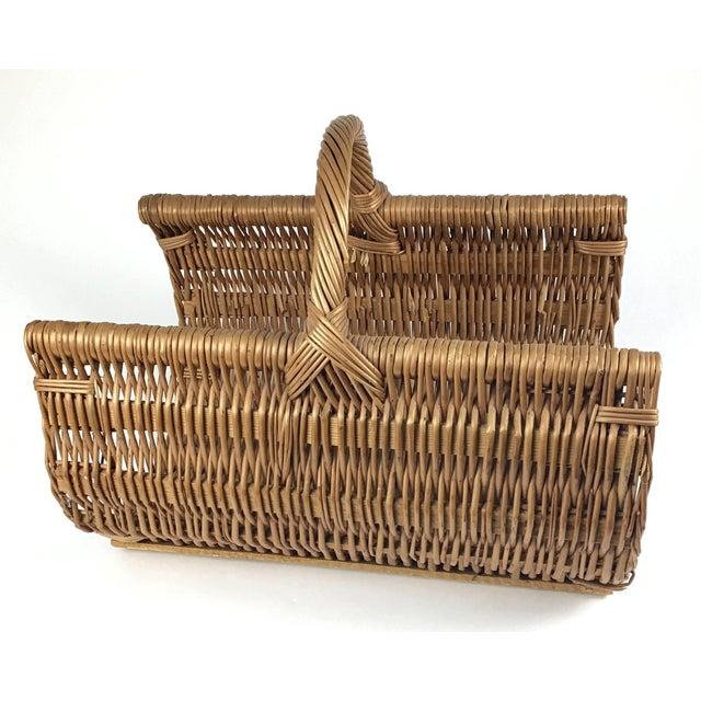 Mediterranean Vintage Wicker Log Basket & Magazine Rack For Sale - Image 3 of 13
