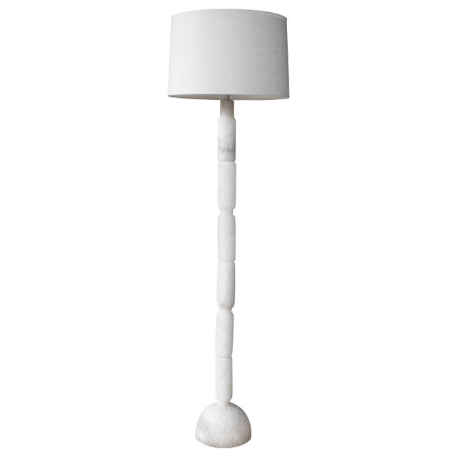 Carved Alabaster Floor Lamp, Italy, 1970s For Sale - Image 9 of 9