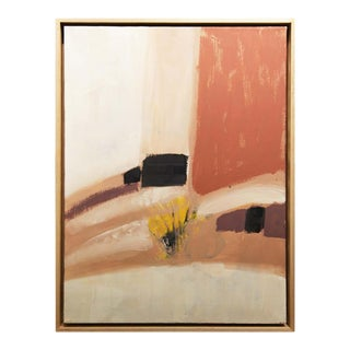 1970s Abstract Pink, Yellow, and Black Oil Painting by Margaret Nobler, Framed