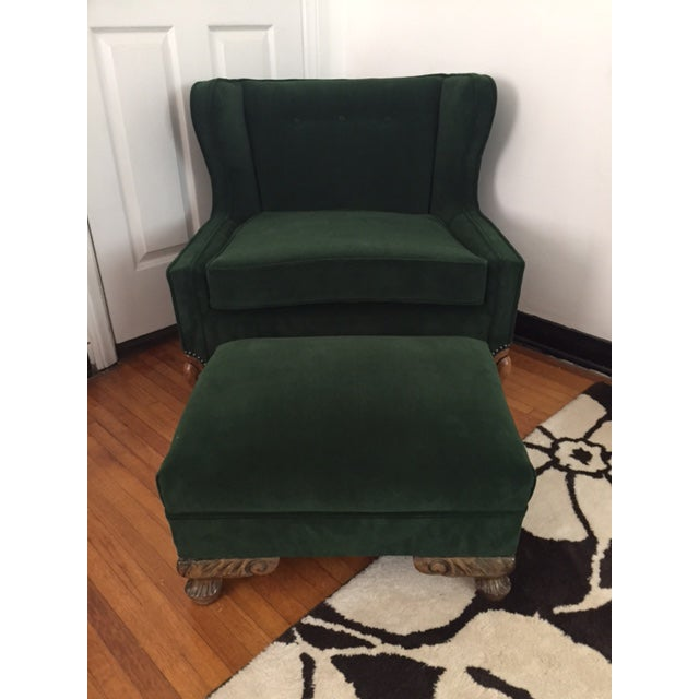 Deco Style Emerald Green Velvet & Ottoman - Image 2 of 6
