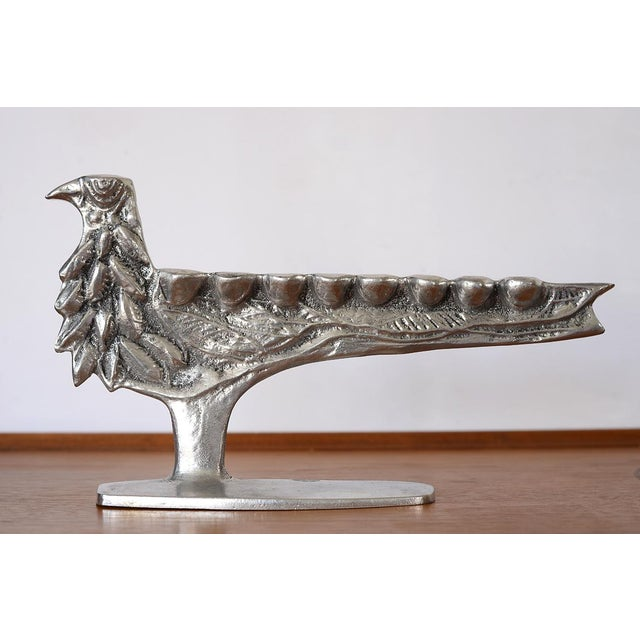 Stunning rare vintage Donald Drumm cast aluminum bird menorah with beautiful details! Signed and in great condition!