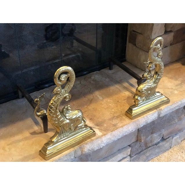 Virginia Metalcrafters Solid Brass Fireplace Set - 6 Pieces For Sale - Image 12 of 13
