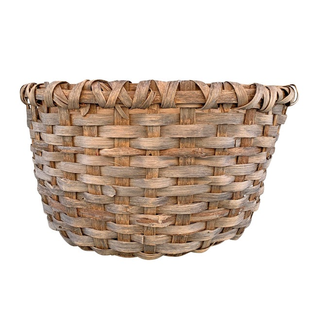 Late 19th Century Massive 19th Century Oak Splint Wool Basket For Sale - Image 5 of 13