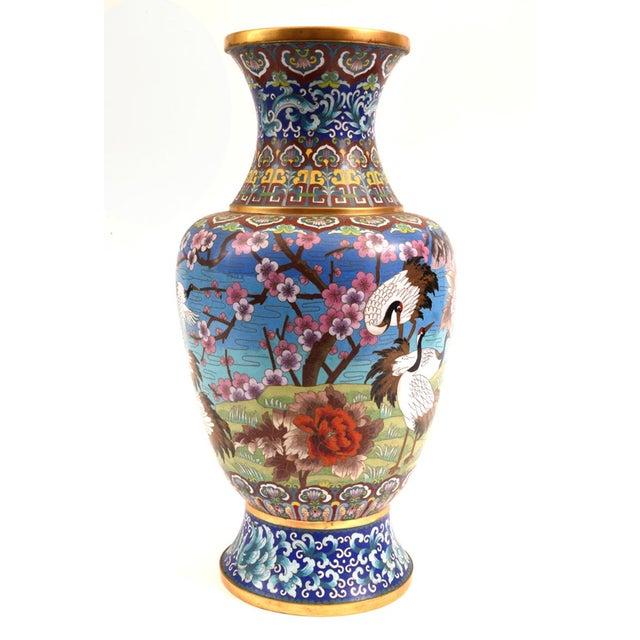 Art Nouveau Large Decorative Cloisonné With Blossom Flowers Vase For Sale - Image 3 of 13