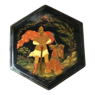 Russian Lacquer Octagonal Box For Sale