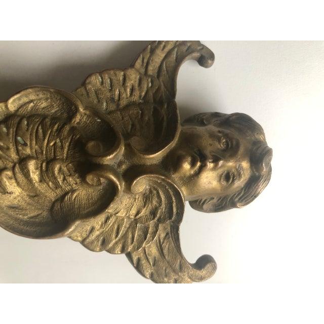 Vintage Solid Brass Cherub Angel Doorstop For Sale - Image 4 of 8