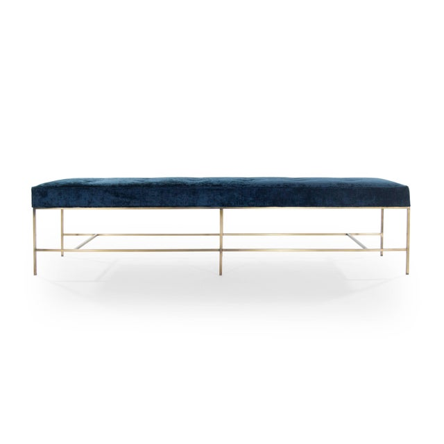 Marvelous Extra Long Architectural Brass Bench In Chenille Lamtechconsult Wood Chair Design Ideas Lamtechconsultcom