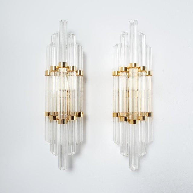 Gold Large Venini Style Murano Glass and Brass Wall Lamps Sconces, 1970 For Sale - Image 8 of 8
