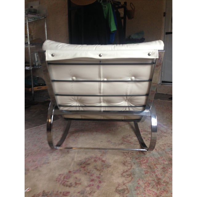 1970s Selig Chrome Leatherette Ellipse Rocking Chair For Sale - Image 5 of 7