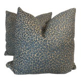 """Image of Teal Cheetah Print Chenille 22"""" Pillows-A Pair For Sale"""