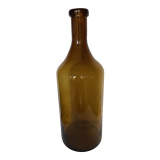 1970s Demijohn Hand-Blown Tall Amber Glass Bottle For Sale