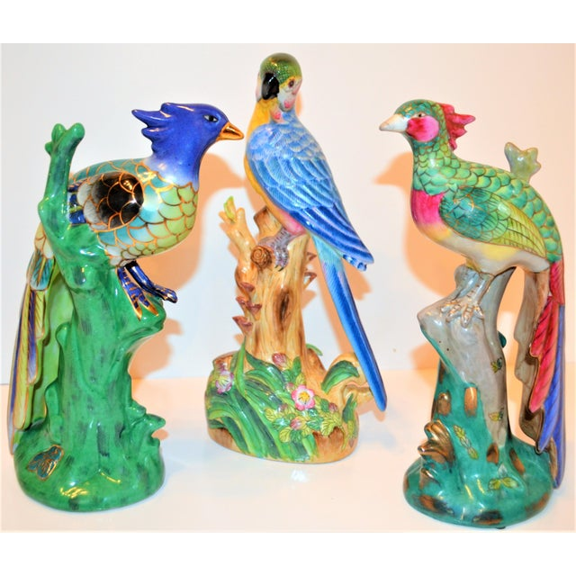 (Final Markdown) 1970s Vintage Majolica Parakeet & Pheonix Figurines - Set of 3 For Sale - Image 12 of 12