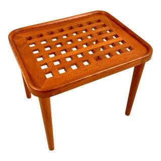 Mid Century Danish Teak Lattice Side Table For Sale