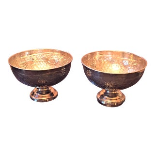 Vintage Artisanal Silver Urns - a Pair For Sale