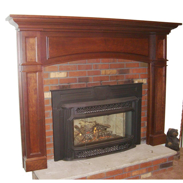 Traditional Modern Solid Cherry Fireplace Mantle Arched For Sale - Image 3 of 12