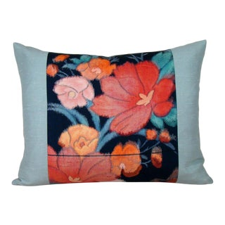Colorful Poppy Japanese Silk Obi Lumbar Pillow Cover For Sale