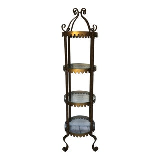 Antique Tall Gold Metal Glass Curio Display Shelf For Sale