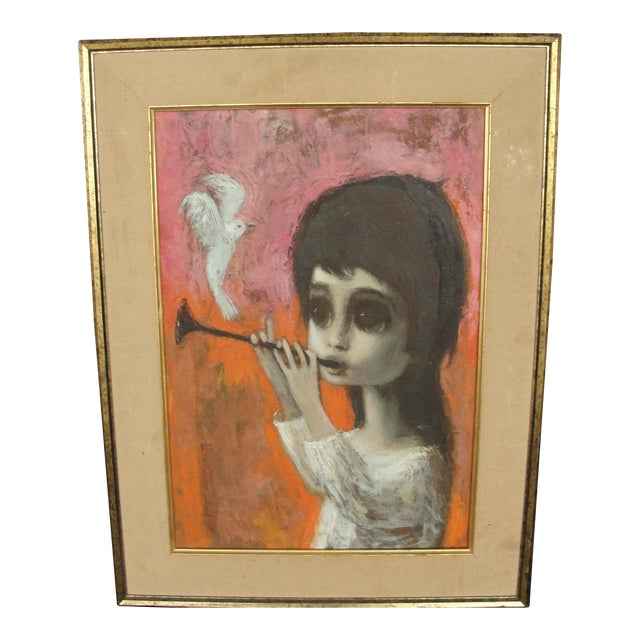 Mid-Century Original Big Eye Painting by Gunilla - Image 1 of 11