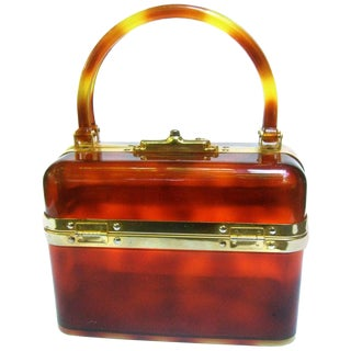 1970s Sleek French Tortoise Shell Lucite Box Purse For Sale