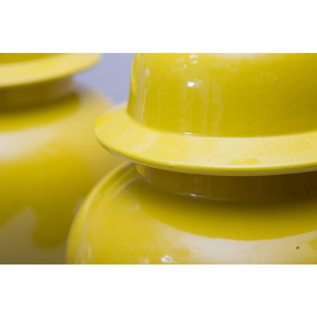 Pair of Yellow Asian Lidded Vases as Lamps - Image 3 of 6
