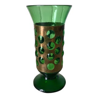 Mid-Century Felipe Derflingher Green Glass Vase For Sale