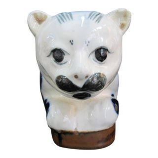 """Chinese Porcelain Cat Pillow 12"""" Blue & White Lounging Mustache Statue For Sale"""