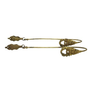 Antique French Brass Curtain Ties - a Pair For Sale