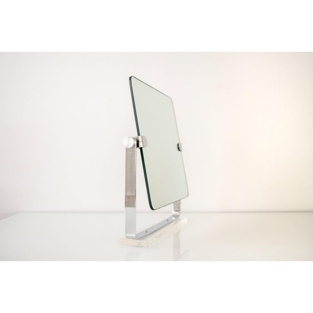 Mid Century Chrome and Lucite Adjustable Tabletop Mirror For Sale - Image 4 of 10
