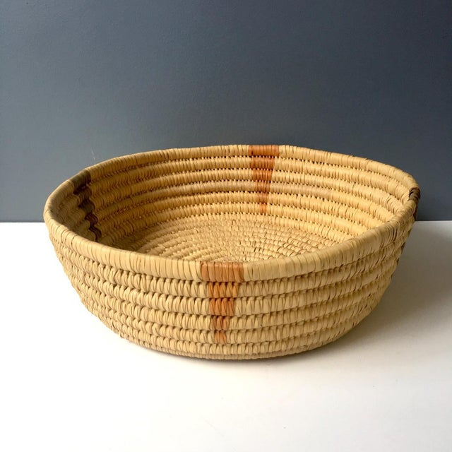 Boho Chic Coiled Large Woven Basket For Sale - Image 3 of 6