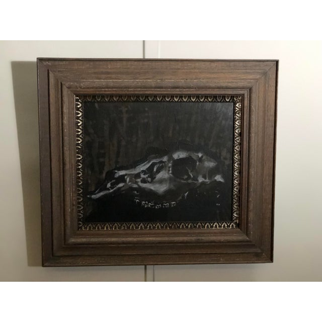 Glass Black and White Watercolor of an Animal Skull For Sale - Image 7 of 11