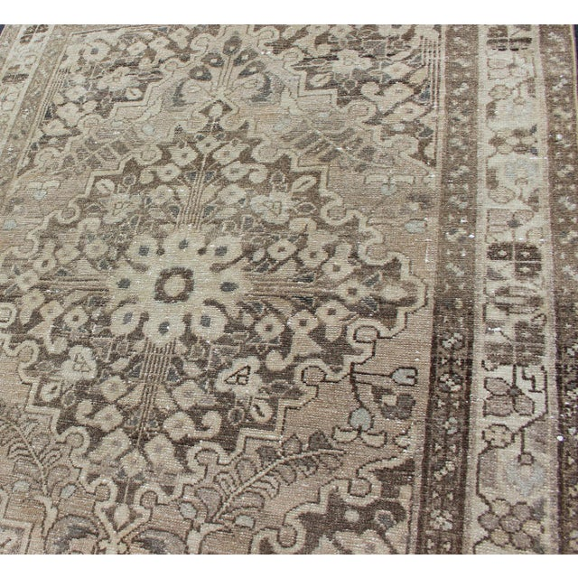 Mid 20th Century Neutral Tone Vintage Persian Lilihan Rug With Medallion For Sale - Image 5 of 13