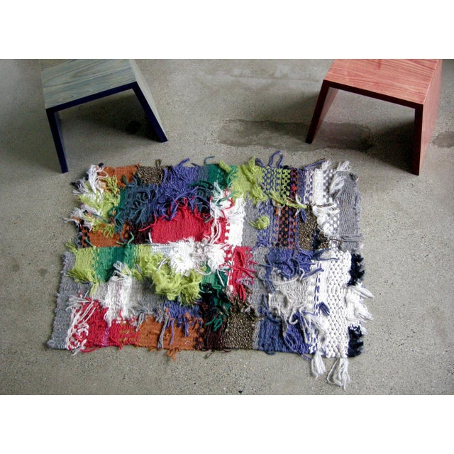 Abstract Multicolored Hand Woven Shag Rug by Paulaschubatis - 2′11″ × 4′1″ For Sale - Image 3 of 3