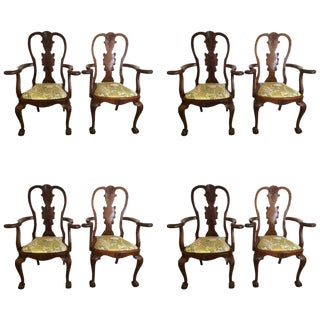 Antique Queen Anne Style Mahogany Dining Chairs - Set of 8