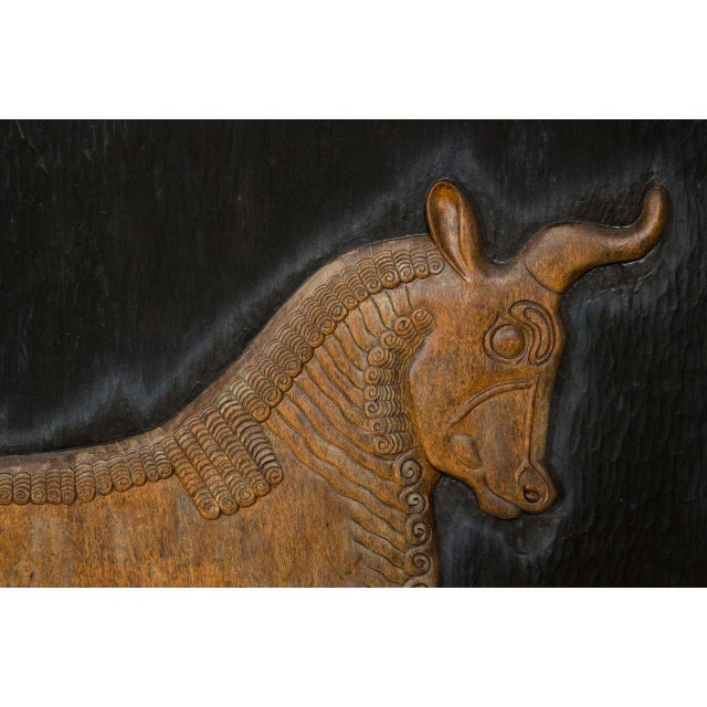1960s Exceptional Hand Carved Artwork Panel From the Estate of Charles Lamb For Sale - Image 5 of 11