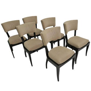 Set of Six Art Deco Dining Chairs Ebony Macassar Wood