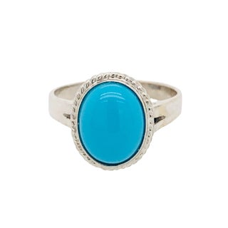 14k White Gold Persian Turquoise Ring For Sale