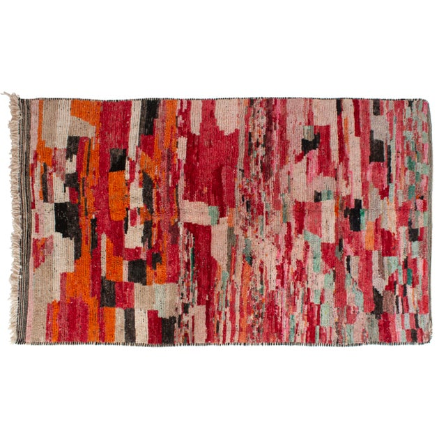 Late 20th Century Moroccan Berber Wool Rug-5'4'x8'3' For Sale - Image 5 of 5