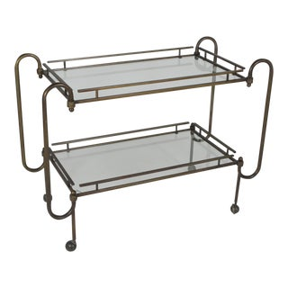 1970s Mid-Century Modern Brass With Two Glass Shelves Bar Cart For Sale