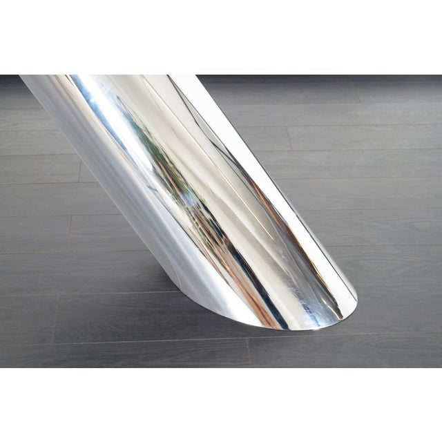 """Brueton Polished Steel """"Zephyr"""" Table by J. Wade Beam - a Pair For Sale - Image 11 of 13"""