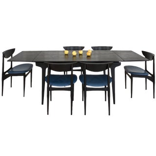 Mid-Century Teak Dining Table Stained Black Plus 6 Chairs With Chic Blue Vinyl Seats For Sale