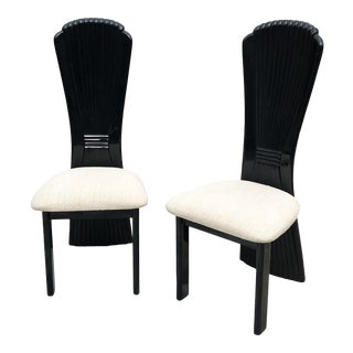 1990s Black Shell Back Accent Chairs - a Pair For Sale