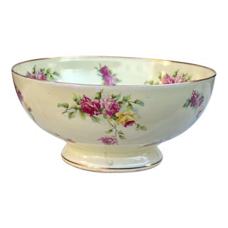 Vintage Heinrich & Co Large Porcelain Hand Painted Floral Centerpiece Fruit Bowl For Sale