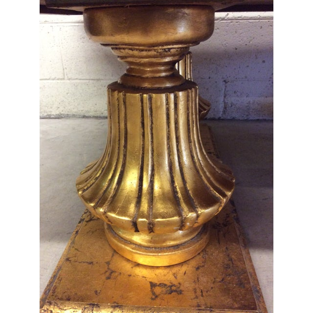 Glass Monumental Italian Gold Gilt Carved Wood & Painted Glass Top Coffee Table For Sale - Image 7 of 11