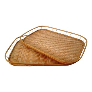 1970s Rattan Trays, a Pair For Sale